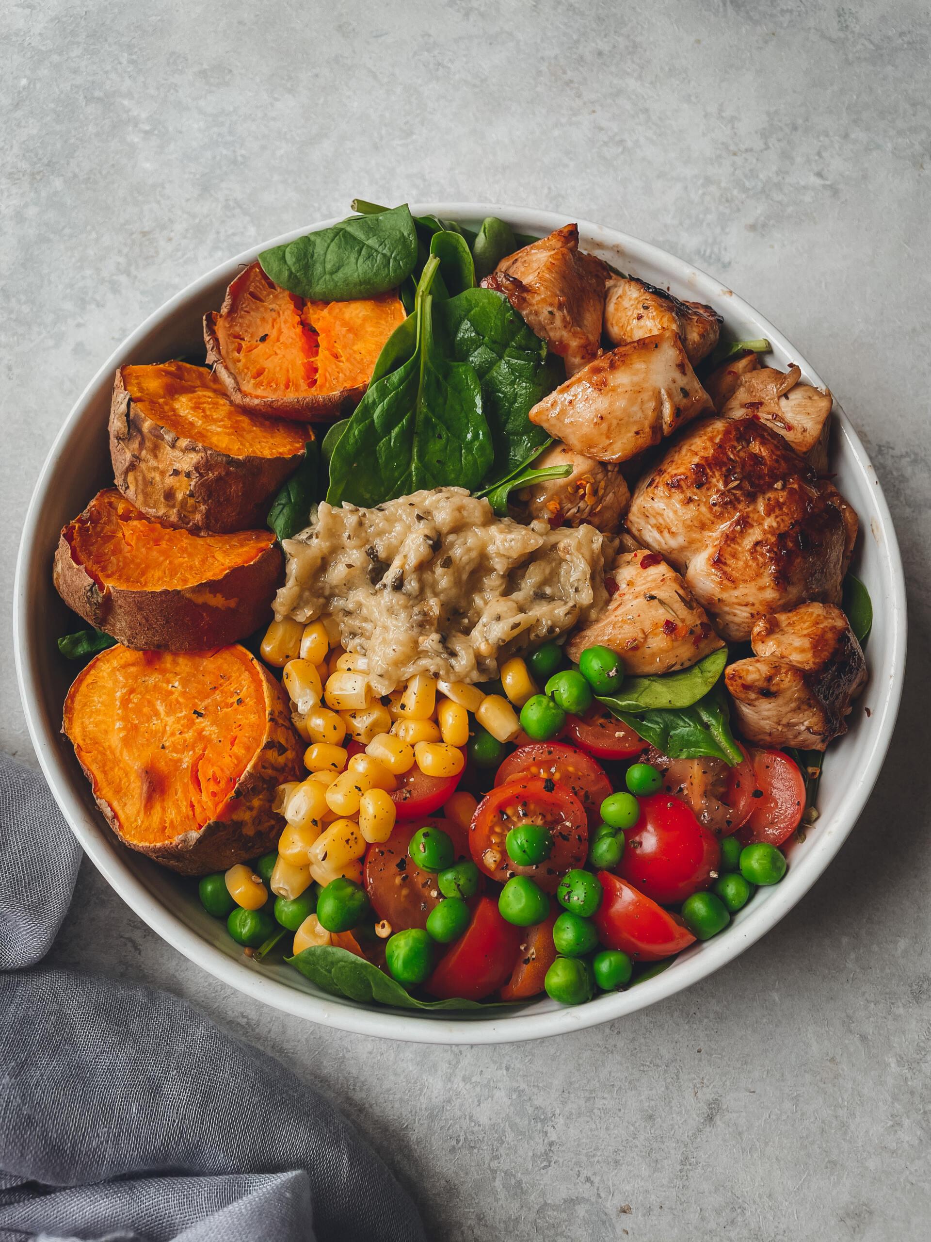 Sweet potato and balsamic chicken buddha bowl