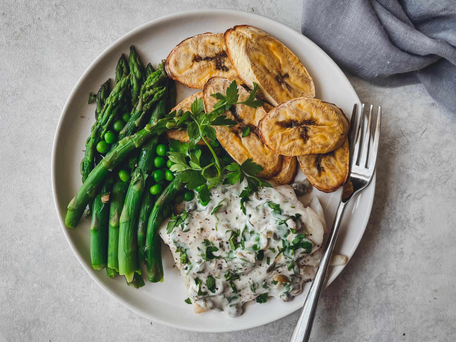 Baked Plaintain with Baked Fish & Asparagus
