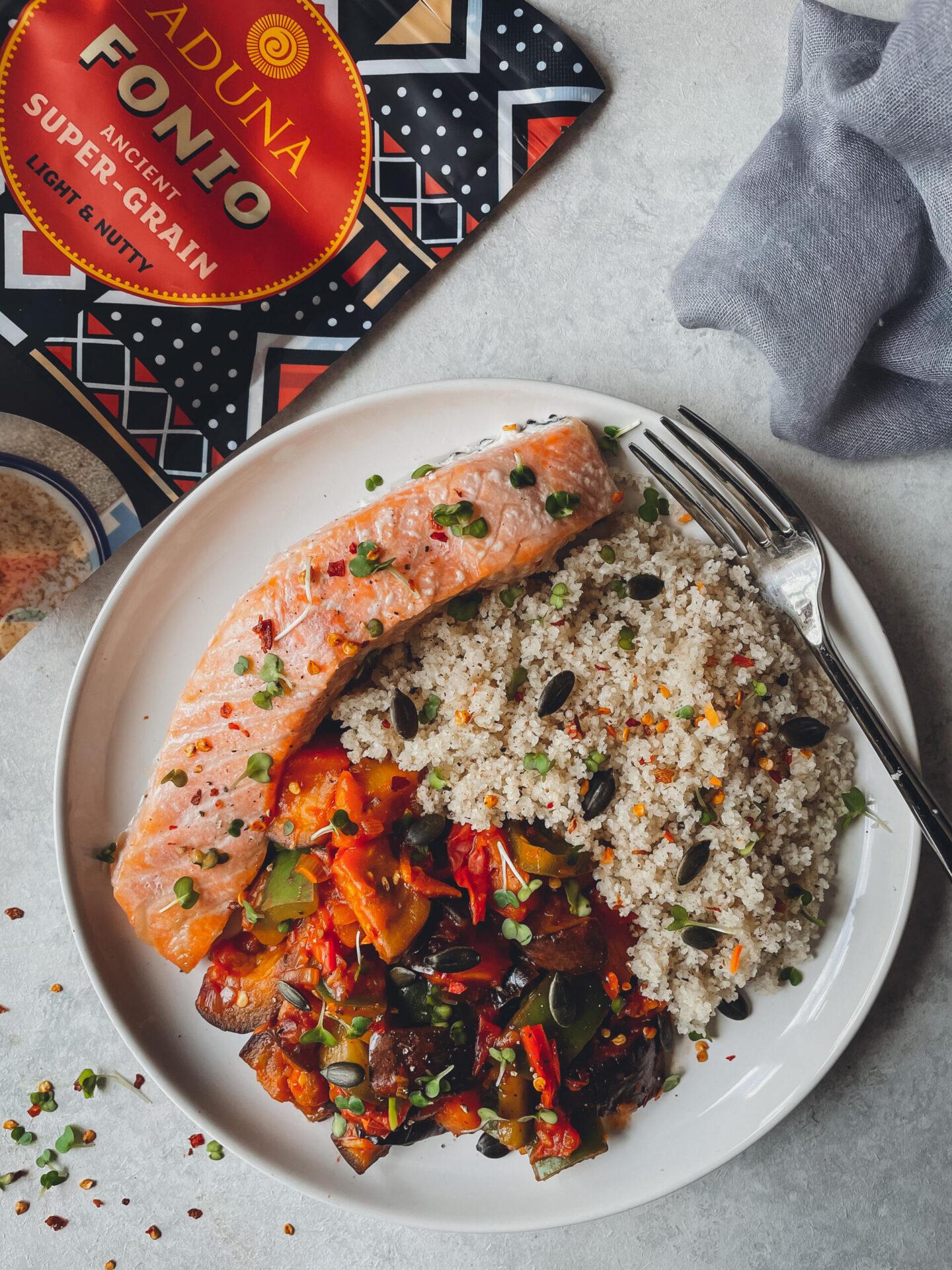 Fonio baked salmon 1