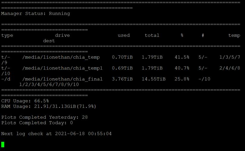 Chia奇亞幣P圖8核每天28P(2.8TB)配置方法