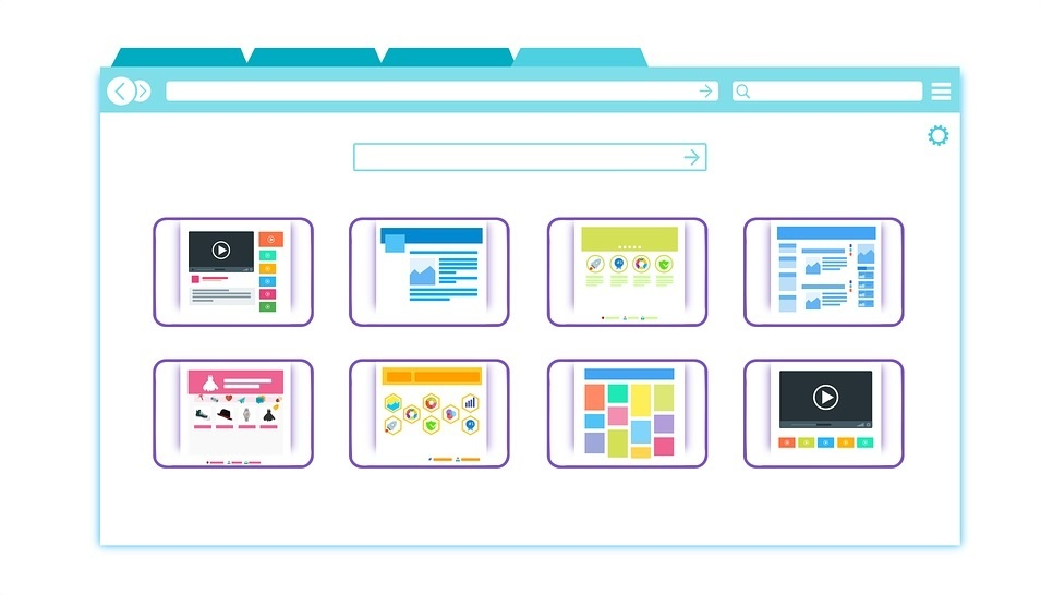 A vector image of a web browser with 4 open tabs.