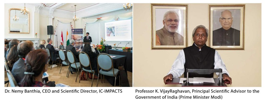 Nemy Banthia, CEO and Scientific Director of IC-IMPACTS, and Professor K. VijayRaghavan, Principal Scientific Advisory to the Government of India shown at the Special Session on IC-IMPACTS as Gateway to India, Innovation, and Economic Development