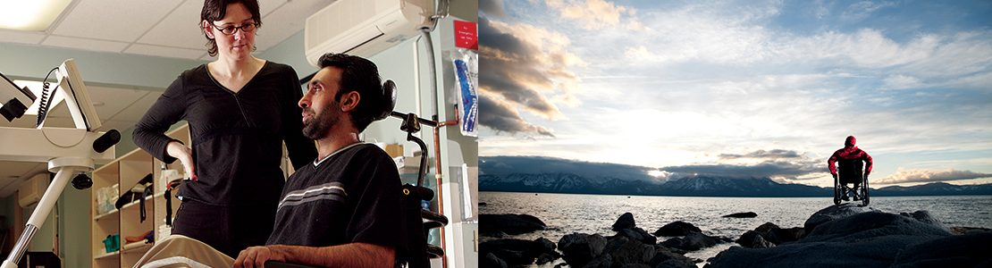 Rick Hansen Institute - Images of Person in wheelchair in a lab, and another on a rocky outcrop next to a the sea