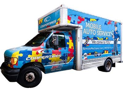Mobile Auto Service Blue Work Truck Remote Mechanic