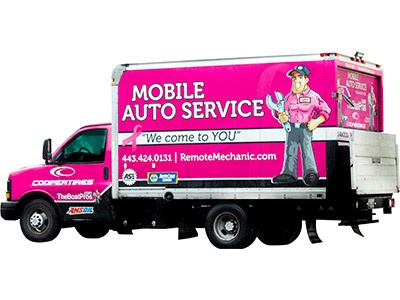 Mobile Auto Service Pink Work Truck Remote Mechanic