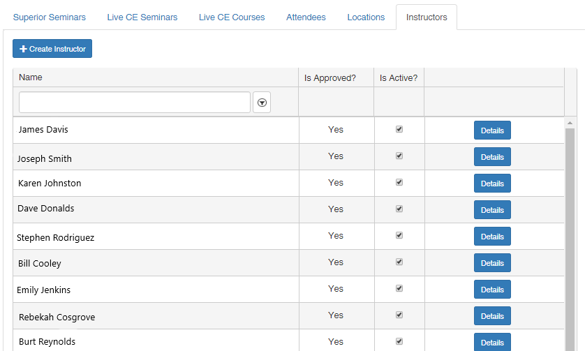 Success Live Track Admin Panel displaying Approved CE Instructors