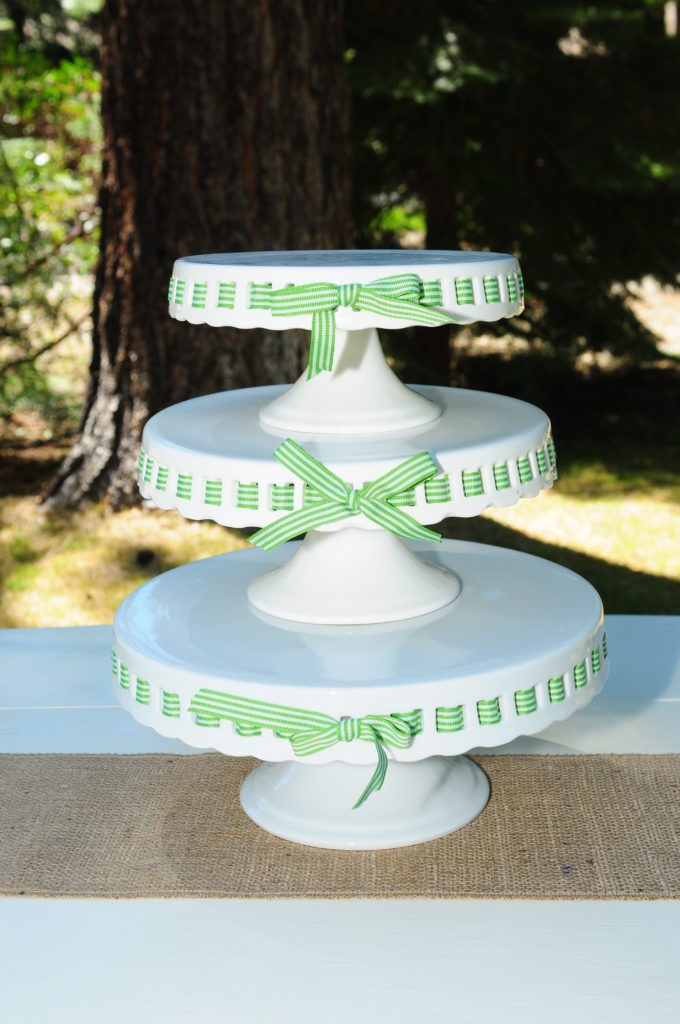 "Tiered cake plates, 8', 9.5"", 11""- stands 14"" high, $30 (ribbon not included)"