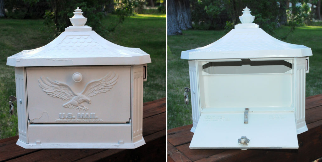 "Victorian mail box card holder. 17""w x 19""h x 12"" d  $15"