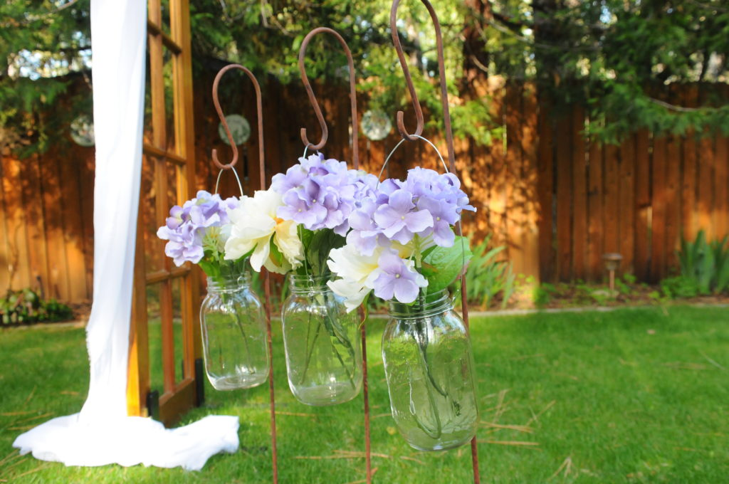 Shepherd hook $5, Hanging Mason Jars $3