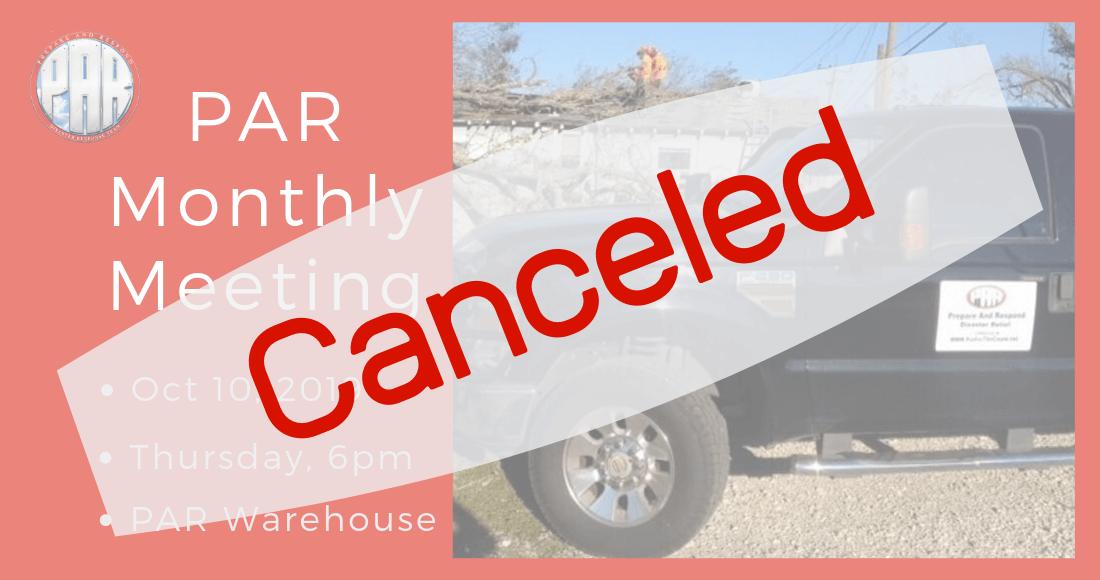 Cancel PAR Meeting 2019-10