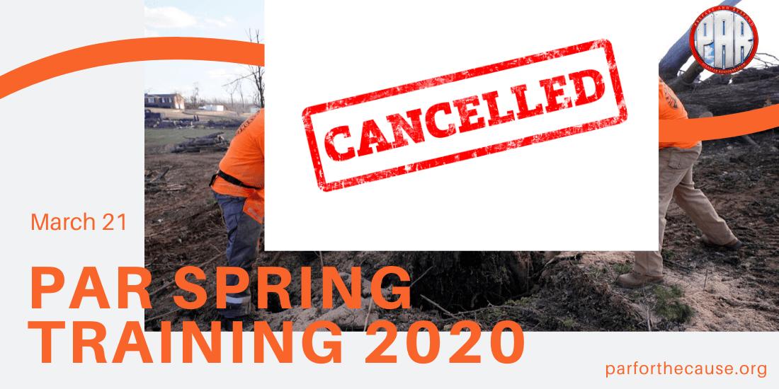 Cancel PAR Spring Training 2020-2