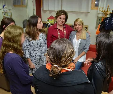 Nava Barak, President of ELEM-Israel and Israeli Pop Superstar Shiri Maimon during a song writing workshop at A Real Home - Bayit Amiti.