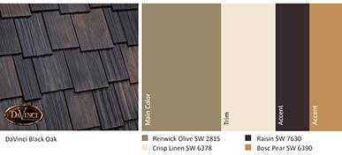Color Ideas for DaVinci Roofscapes Black Oak Shakes