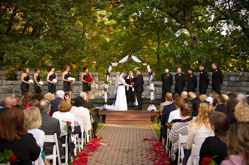 Searles Castle Courtyard Ceremony Fall