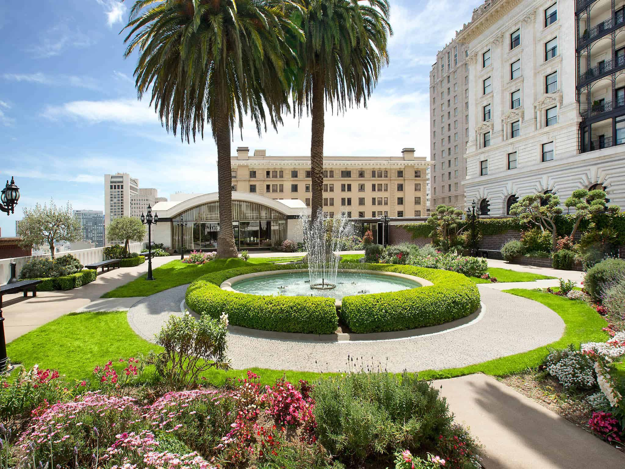 Fairmont San Francisco garden, fountain, and palm trees