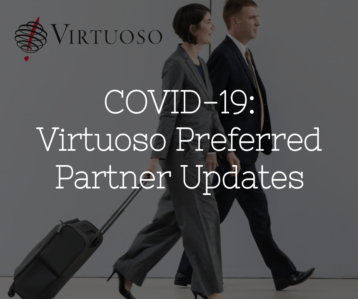 Covid-19 Virtuoso Preferred Partner Updates button with 2 traveling people in background