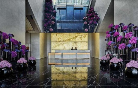 Four Seasons Philadelphia Lobby with purple flowers