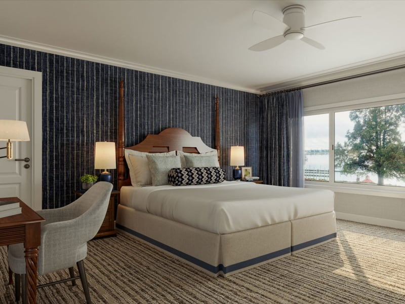 Tides Inn king bedroom, view of desk, bed and large windows