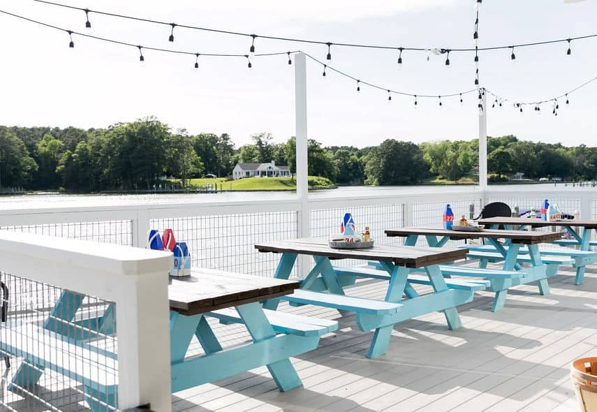 The Tides Inn Fish Hawk Oyster Bar Outdoor Seating on water