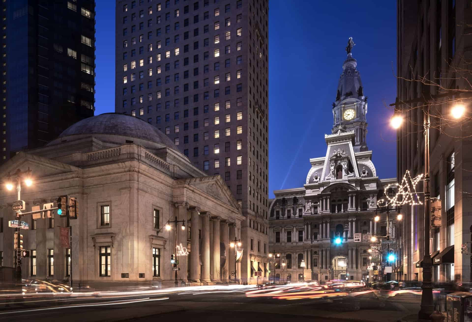 Exterior night view of The Ritz-Carlton, Philadelphia