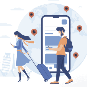 Graphic of people traveling from covidchecker.com