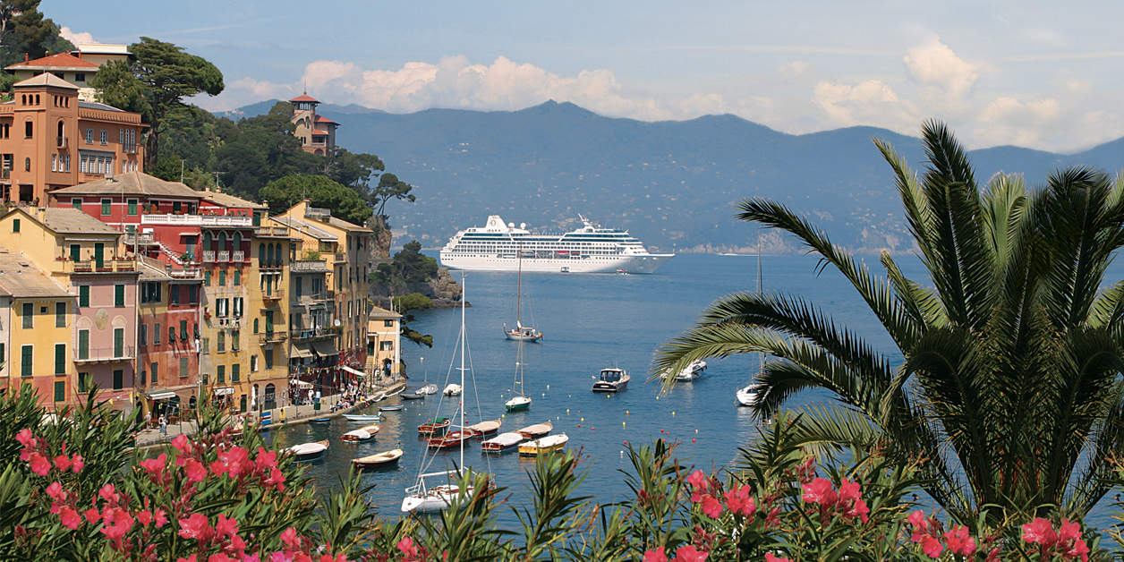 Oceania ship sailing past Portofino