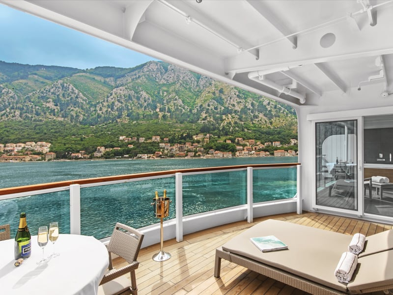 View looking out from a room suite on the Seabourn Ovation