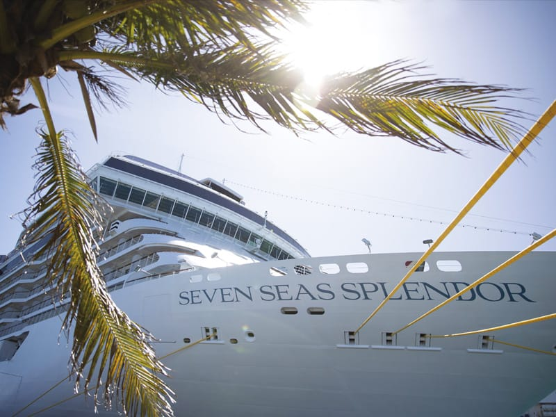 Closeup view of Regent's Seven Seas Splendor docked with palm tree in foreground on left