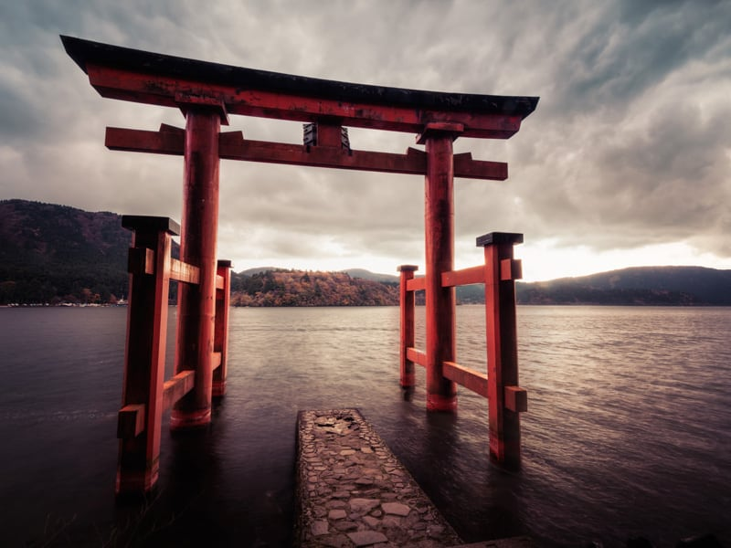Hakone Gongen Shrine is a Japanese Shinto shrine on the shores of Lake Ashi in the town of Hakone in the Ashigarashimo District of Kanagawa Prefecture