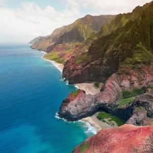 aerial View of Na Pali Coast on Kauai island, Hawaii