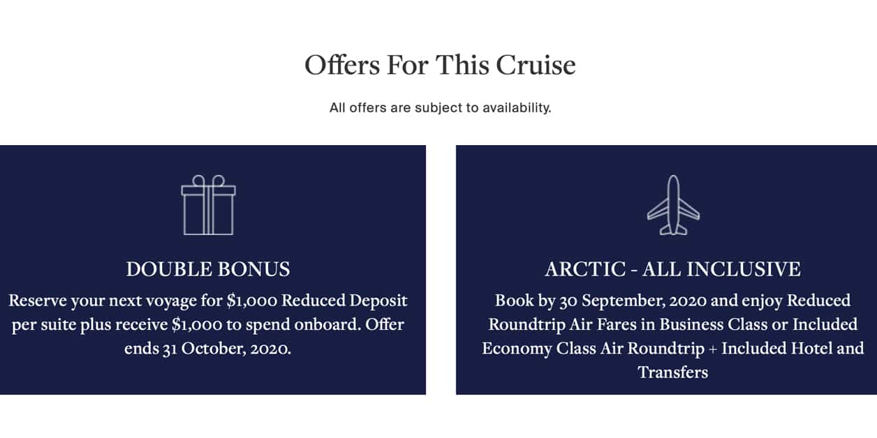 2 offers for Silversea Arctic cruise