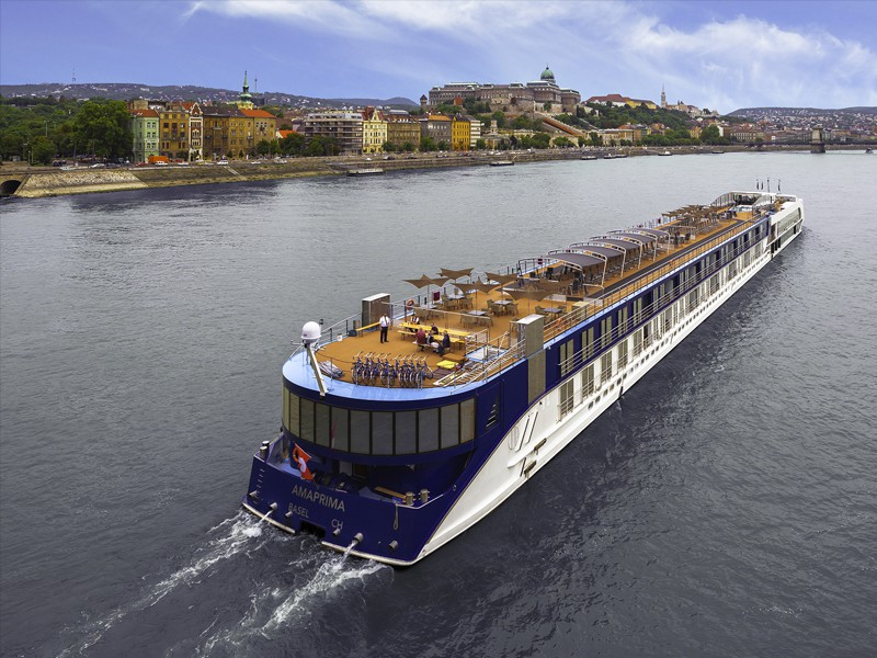 AmaWaterways' AmaPrima boat on river in Budapest