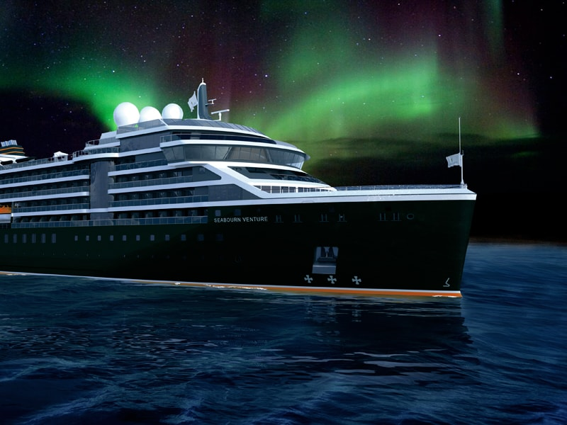 Seabourn Venture ship sailing with norther lights in sky rendering