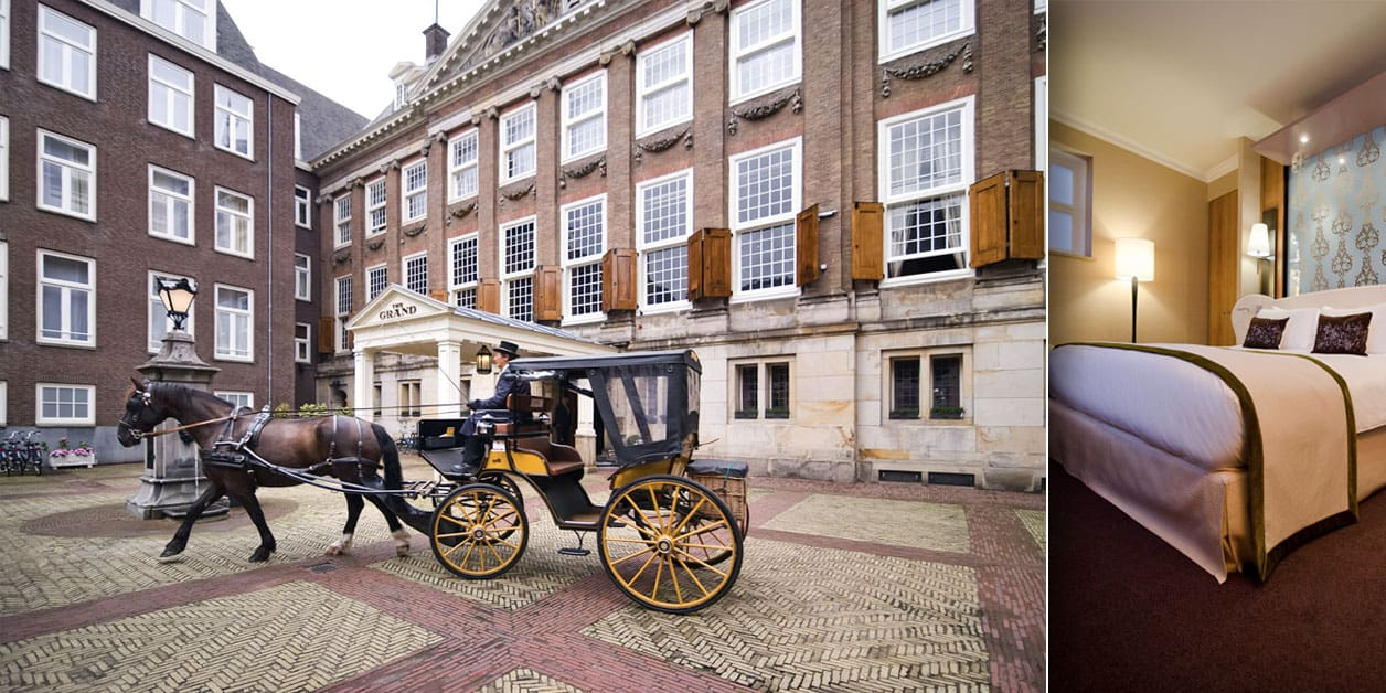 2 photos of Sofitel Legend The Grand Amsterdam horse and chariot exterior photo of hotel and view of a bedroom