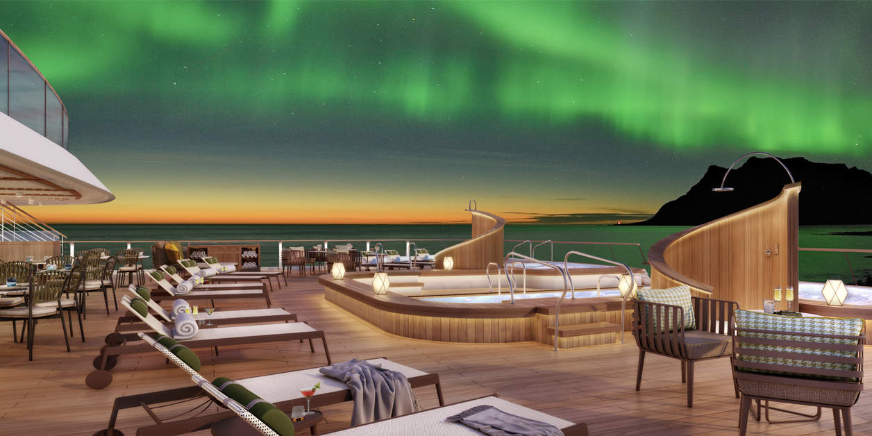 View of lounge deck rendering on the Seabourne Venture with the Northern lights in sky