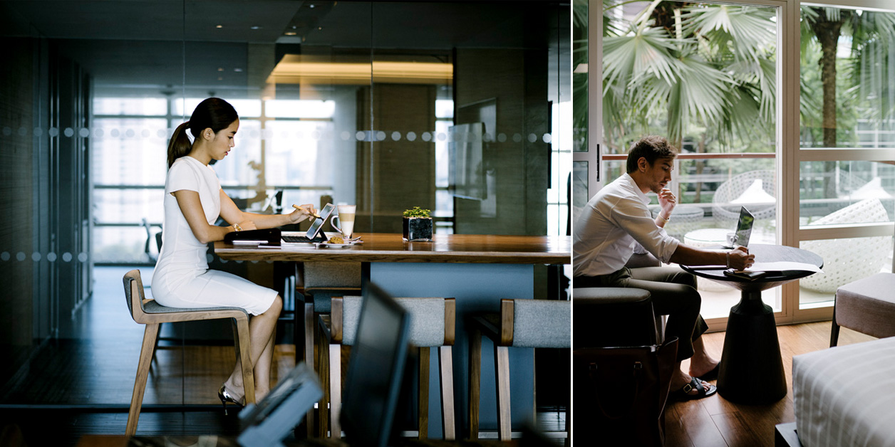 A photo of woman working in business space, side by side with photo of man working in hotel room, both at Pullman Bangkok King Power