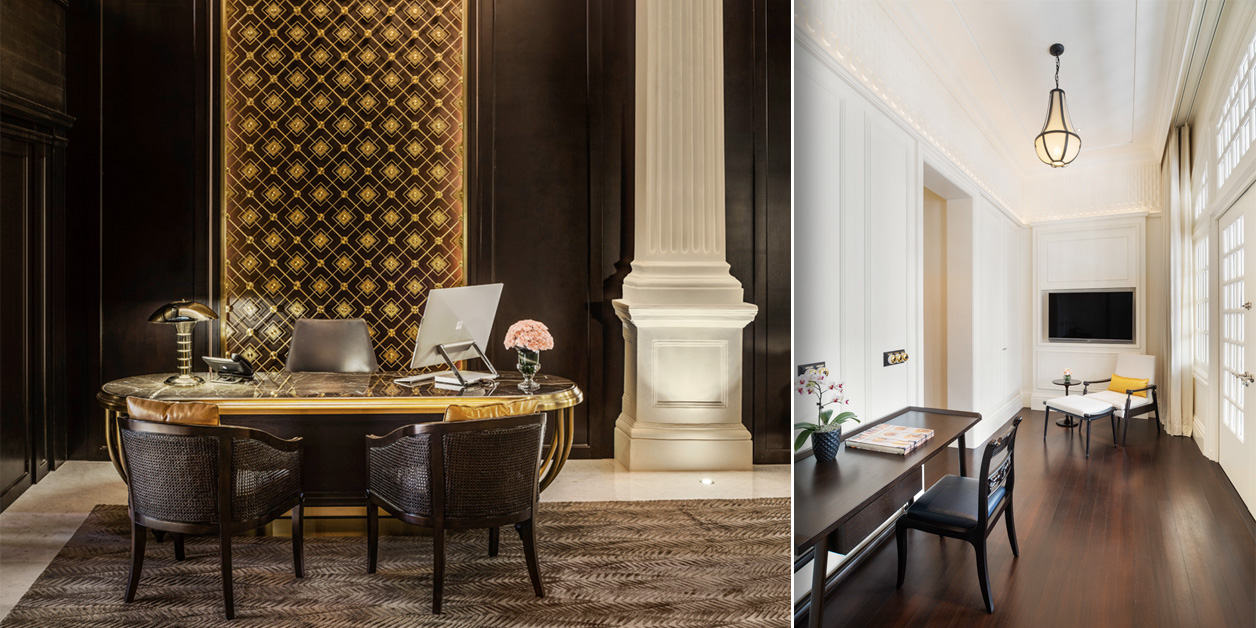 2 views of desk areas or workspace at Raffles Singapore