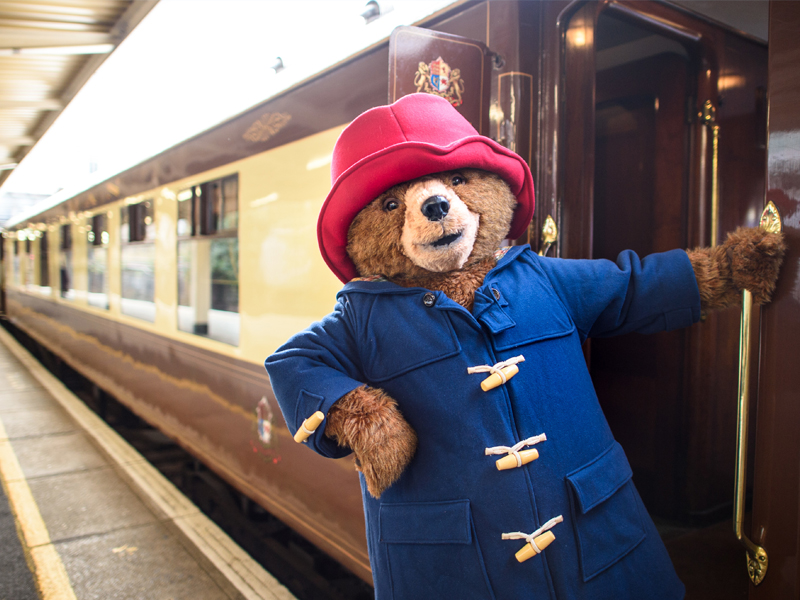 Paddington bear leaning out of the door of Belmond British Pullman train