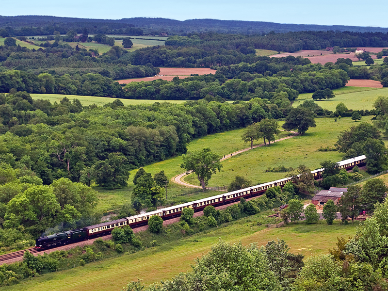 The British Pullman steam trip, viewed from the Surrey hills