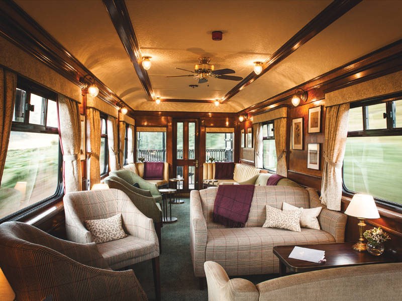 Observation car lounge on the Belmond Royal Scotsman train