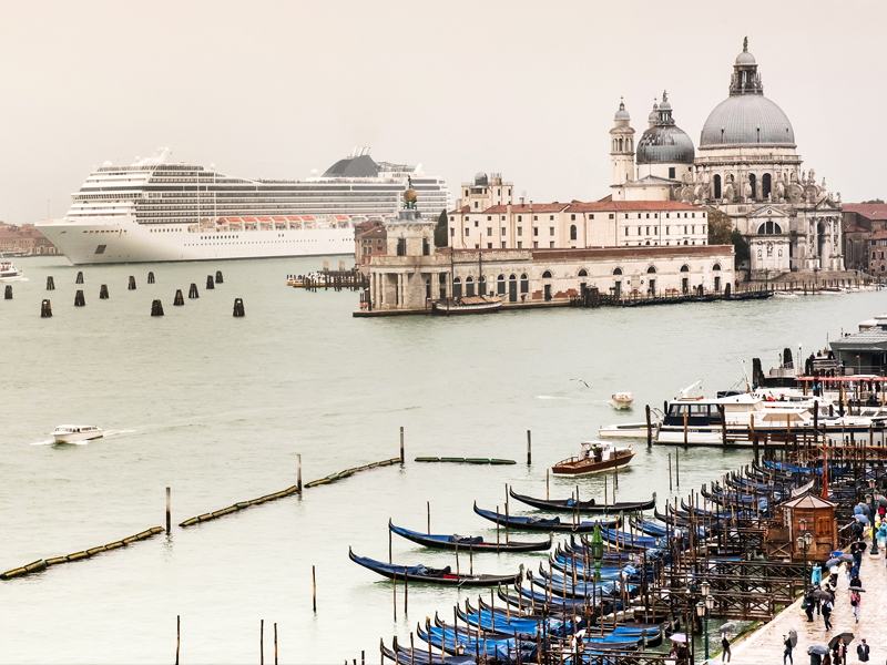 photo features a cruise ship arriving into Venice, Italy.