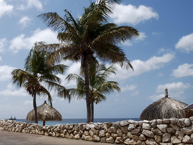 The touristic seafront in the peaceful city of Kralendijk, Bonaire