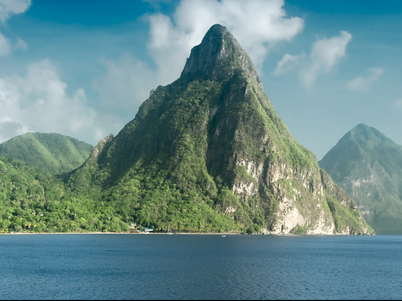 A view of the famous Piton mountains in St Lucia.