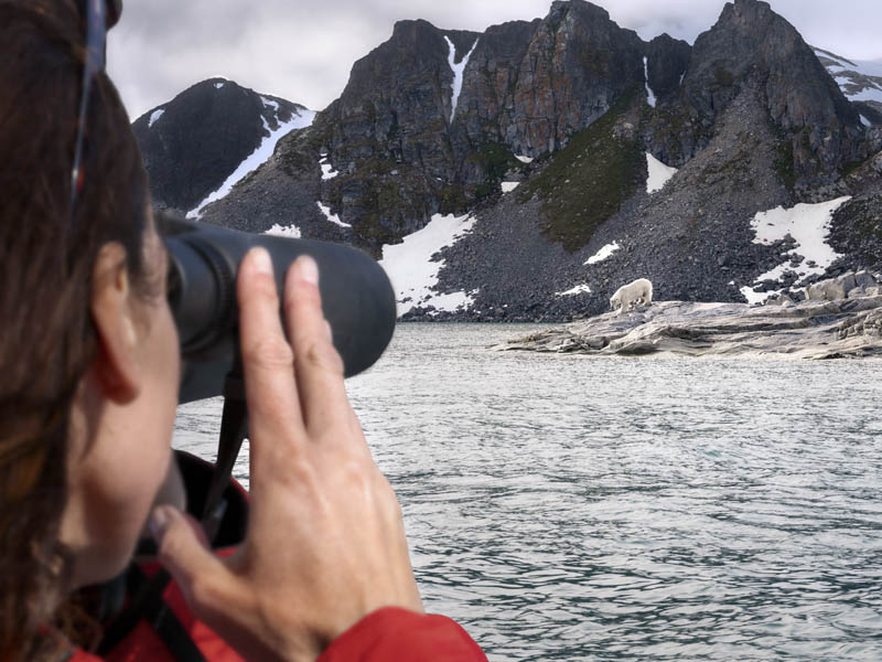 Silversea guest watching a polar bear with a binoculars, Fjortende Julibreen, Svalbard.