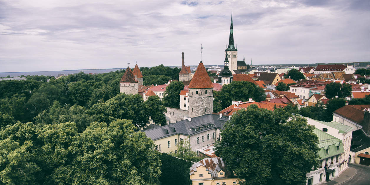 The top view of the old city of Tallinn, Estonia.