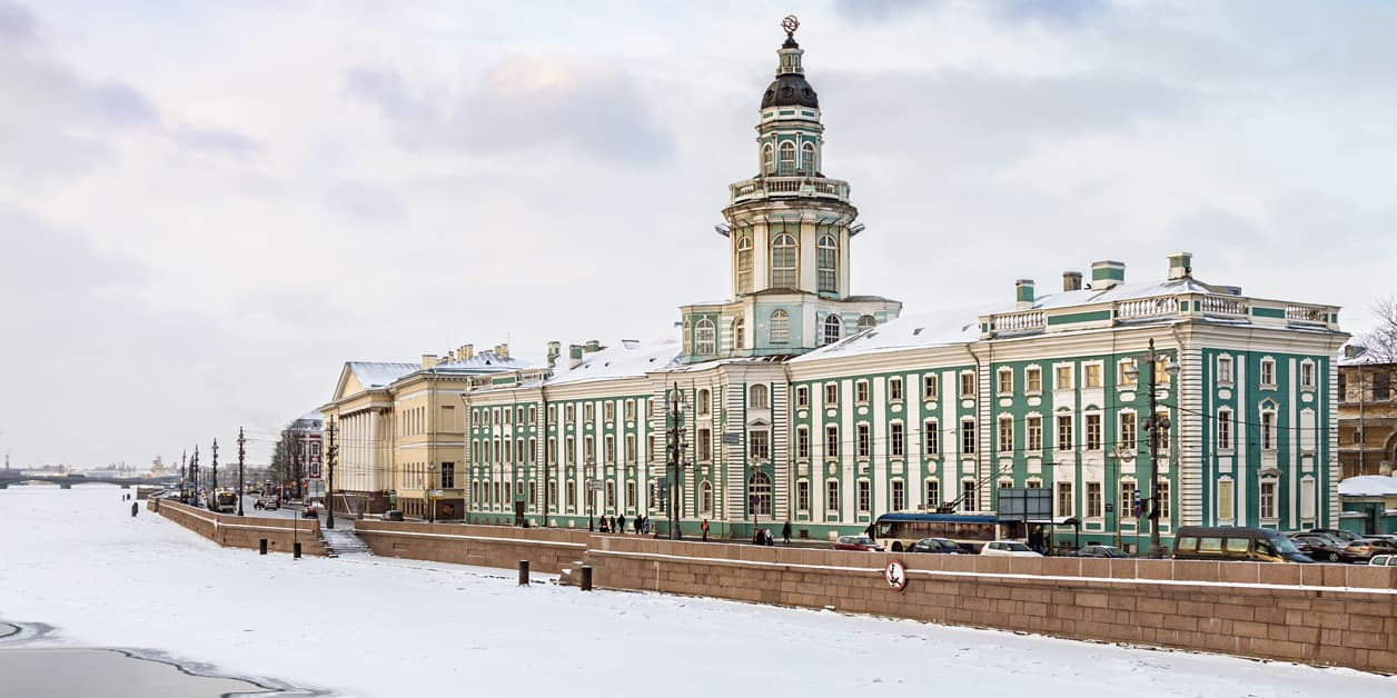 The cabinet of Curiosities in St. Petersburg at dawn in winter.