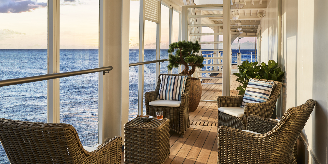The exterior part of Silversea's Silver Shadow ship's Connoisseur's Corner.