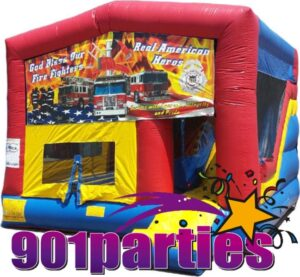 $225 - $25 DEPOSIT - 8' FOOT FIRE FIGHTER SINGLE LANE WATER SLIDE BOUNCER COMBO RENTAL IN MEMPHIS
