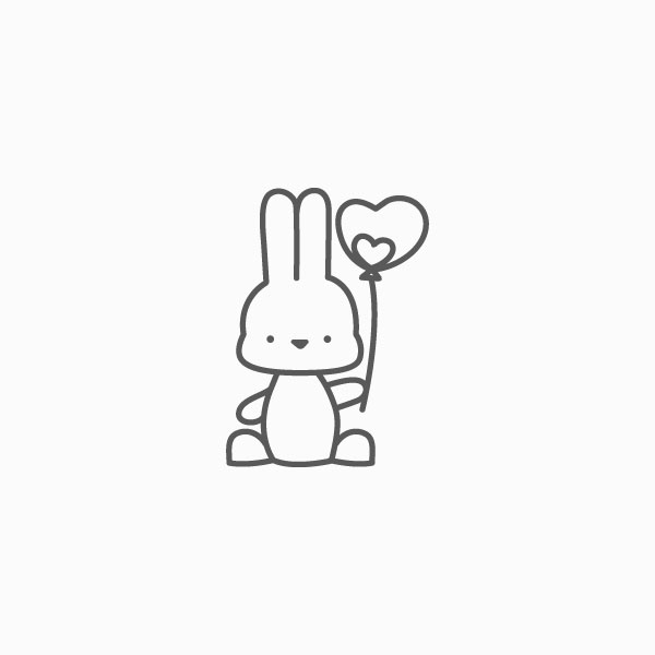 Bunny with Heart Balloon Thin Line Icon