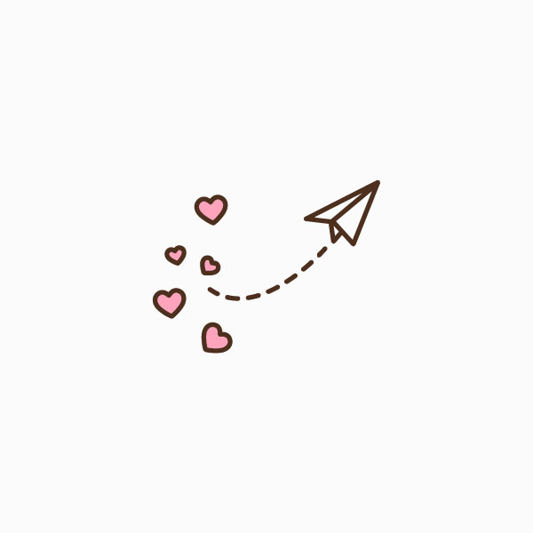 Paper Airplane with Hearts Icon